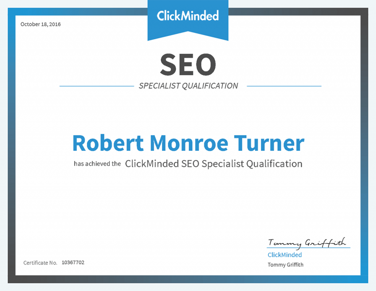 Robert Monroe Turner ClickMinded SEO Specialist Qualification Certificate